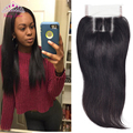 8A Virgin Peruvian Straight Closure Bleached Knots 4*4 Lace Closure with Baby Hair Free Middle Three Part  Human Hair Closure