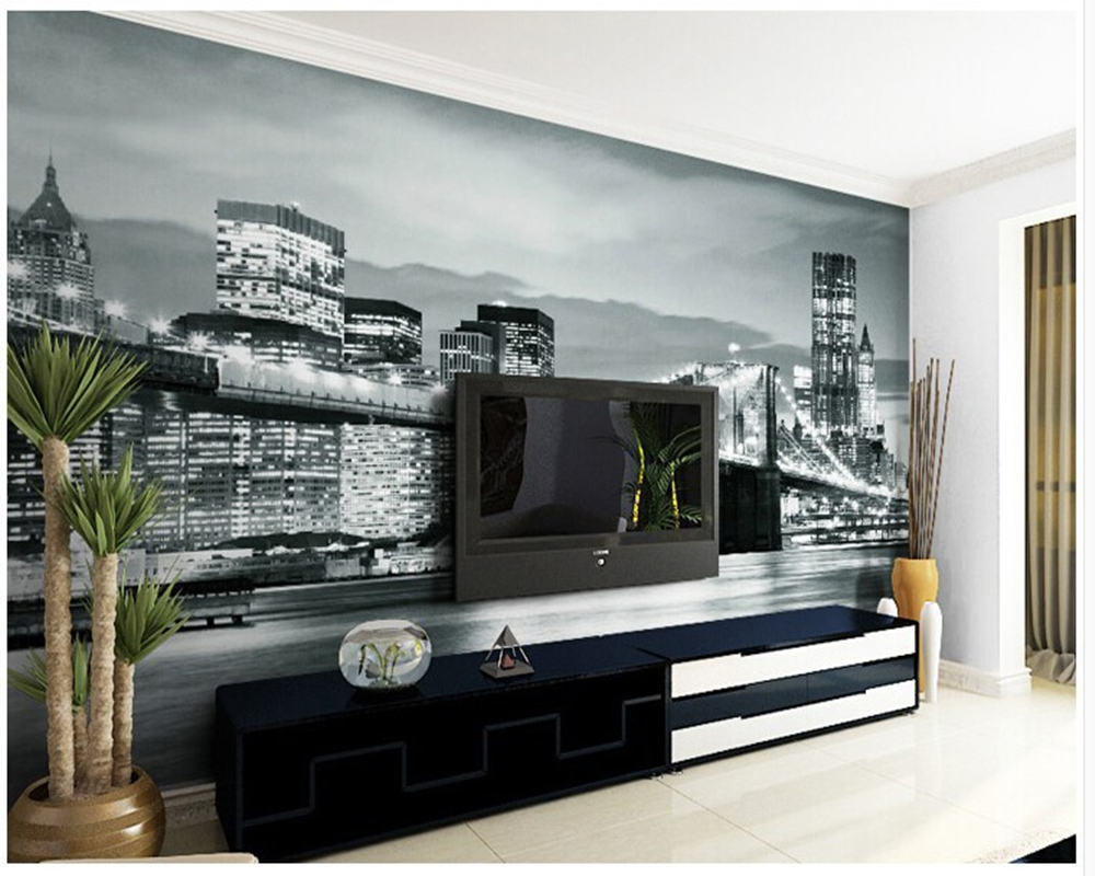 custom vintage wallpaper new york city night scene of stereo wall