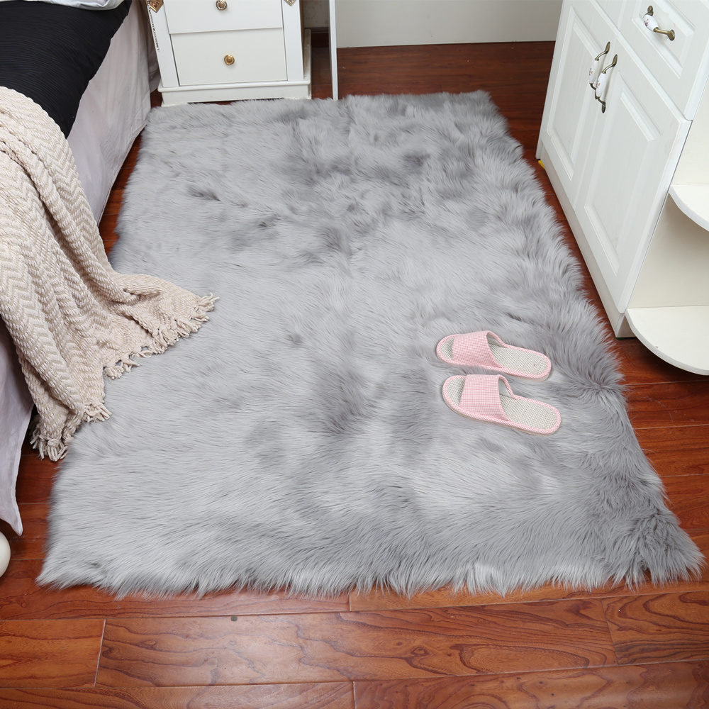 Grey Sheepskin Chair Cover Warm Hairy Carpet Seat Pad long Skin Fur Plain Fluffy Area Rugs Washable square 2colors 007