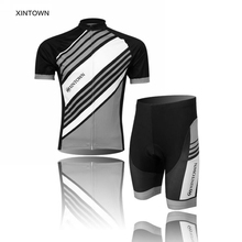 XINTOWN Twill Black Mens Short Sleeve Bike Ropa Ciclismo Bicycle Jerseys Jackets Cycling Clothing Shirts Bib Shorts