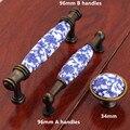 96mm estilo branco e azul do vintage porcelian cômoda maçaneta da porta do armário de cozinha móveis handle bronze botão gaveta de cerâmica azul