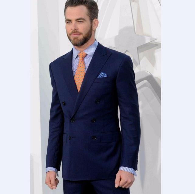 e1e583311449a Azul Marino groomsmen pico lapel novio Esmoquin cruzado hombres Trajes boda  mejor hombre traje (chaqueta