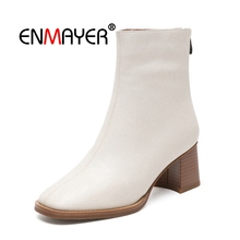 цены ENMAYER Women Ankle boots New Fashion women square toe zipper botas mujer lady high heel Short boots Size 34-40 Winter CR1696