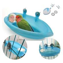 Ванна для птицы с птичьим зеркалом маленькая Овальная Ванна для птицы Клетка для домашних животных аксессуары для попугая Ванна Душ принадлежности для купания стоящая коробка