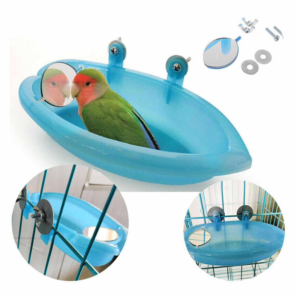 Bird Bathtub With Bird Mirror Small Oval Bird Bathtub Pet Cage Accessories Parrot Bath Shower Bathing Supplies Standing Box