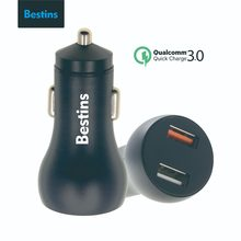 Bestins Car Charger Quick Charge 3.0 Black Universal Charger Dual USB Fast QC 3.0 Car Charger for iPhone Xiaomi Tablet Charger(China)