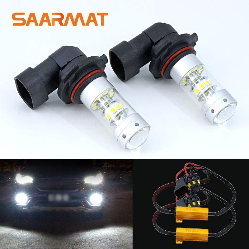2 x 9006 HB4 White Led Bulb 140W 140LM Daytime Running Lights Fog Lamp + Canbus Decoders For BMW E60 E63 E64 E46 330ci
