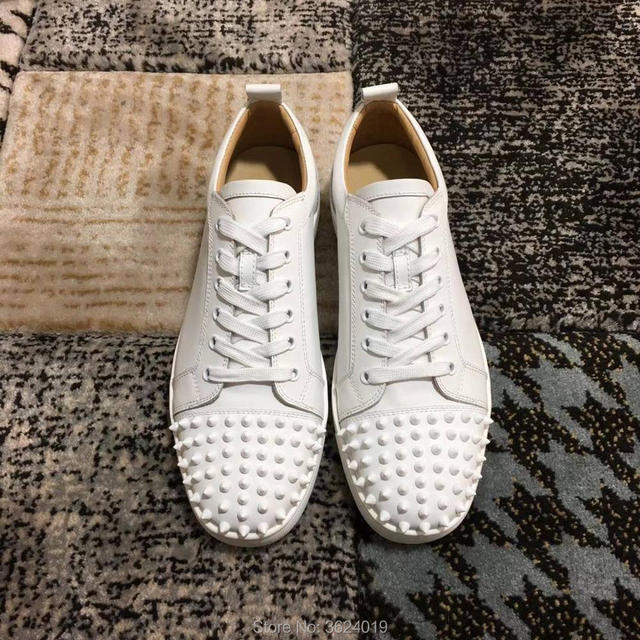 04c84c95024b clandgz White Lace-up Men Rivets front Shoes Fashion Party Red bottom  Sneakers leather casual shoes 2018 Male