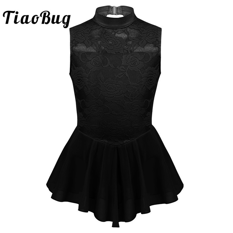 TiaoBug Children Sleeveless Floral Lace Figure Ice Skating Dress Tutu Ballet Gymnastics Leotard Kids Girls Lyrical Dance Costume