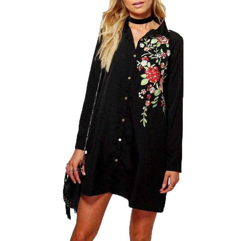 2016 automne femmes vêtements casual femmes chemises broderie femmes  blouses à manches longues femmes tops noir longue chemise 8114b0a2fd7