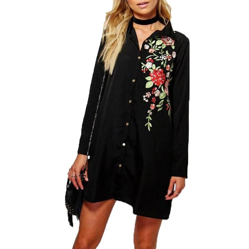 b53793452d0a64 2016 fall vrouwen kleding casual vrouwen shirts borduren vrouwen blouses  lange mouwen vrouwen tops zwart lange shirt