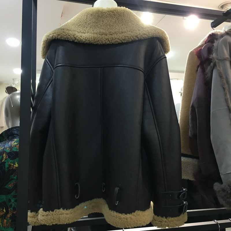 100% echtem schaffell leder und pelz outwear warme jacke und mantel frauen und männer winter warme outwear outwear mantel natürliche pelz