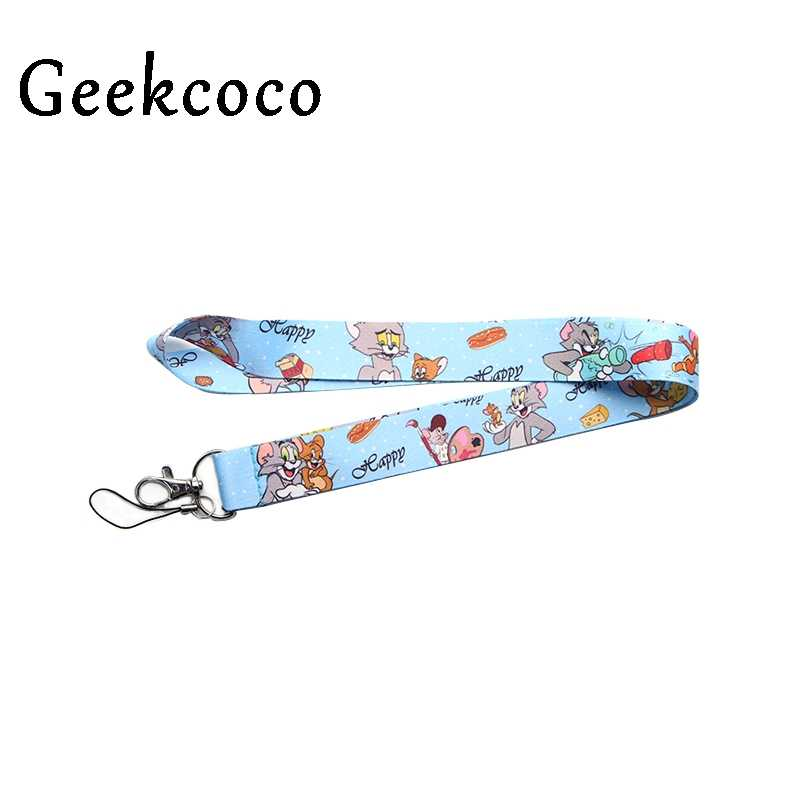 Cat and mouse Cartoon keychains Accessory Safety Breakaway Mobile Phone USB Or ID Badge Holders Keys Straps Neck lanyards J0393