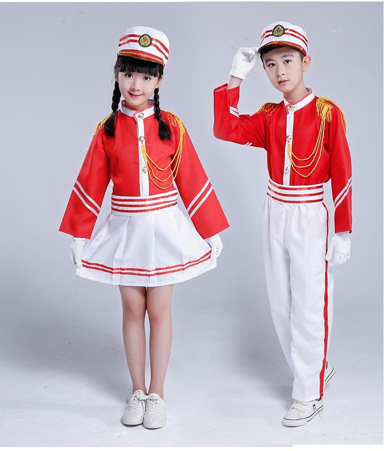 Children Young Pioneers Drummer Clothing Drum Team Uniform Childrens Flag Raiser Clothing
