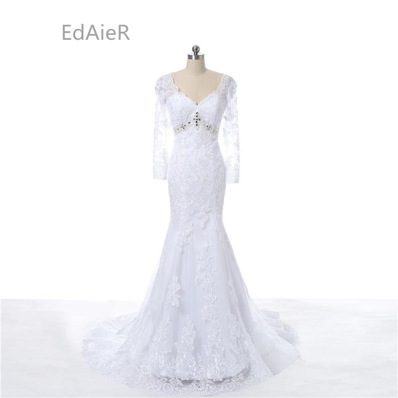Mermaid Wedding Dress V Neck Wedding Dress Long Sleeve Transparent Tulle Hand Made Beading Lace Wedding