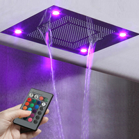 Bathroom Big LED Shower Heads Remote Control LED Light Showers Ceiling Embedded Rainfall,Waterfall and Water Curtain Showerhead