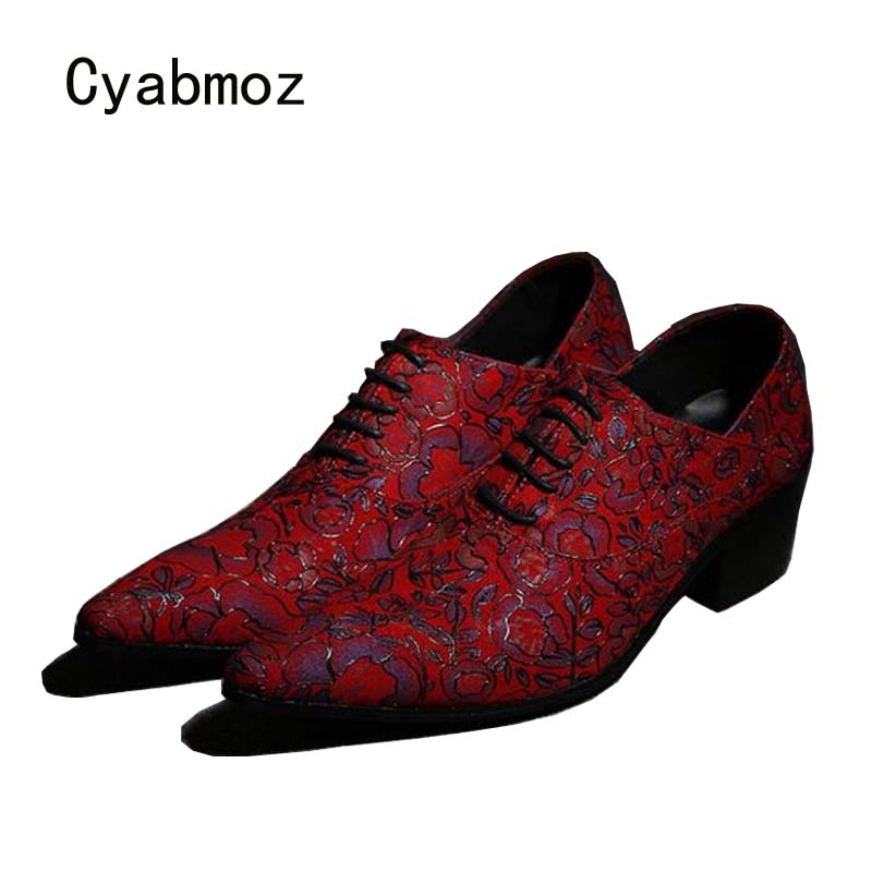 Cyabmoz Men Shoes Pointed Toe Lace Up Wedding Shoes Men's High Heels Party Print Flowers Business Fashion Club Man Dress Shoes stylish tiny flowers print wedding casual party white tie for men