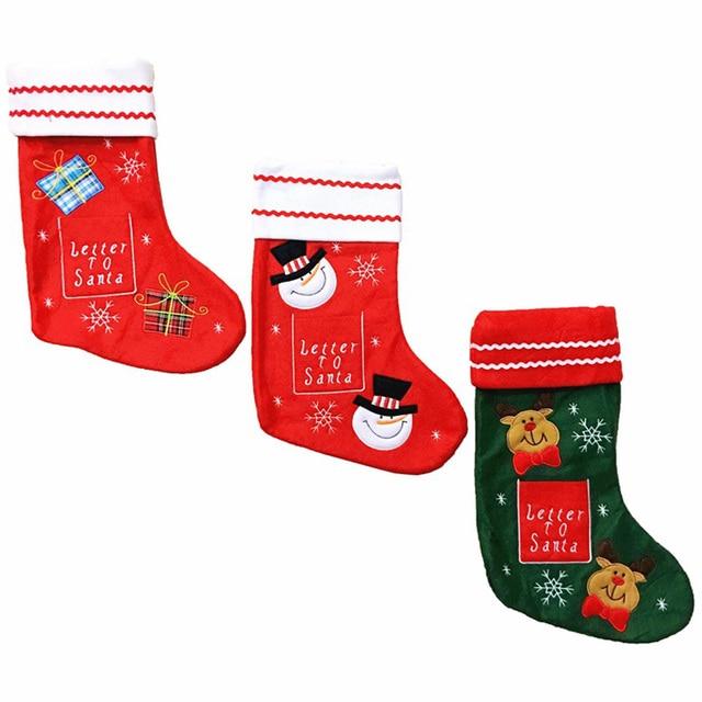 Letter Christmas Stockings.Aliexpress Com Buy 5 Pcs Lot Christmas Stockings Gift Bag Socks Snowman Elk Socks Stockings Gift Holders Christmas Socks For Candy Market Pendant