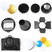 Neewer Speedlite Flash Accessories Kit Barndoor Conical Snoot Mini Reflector Sphere Diffuser Softbox Universal Mount Adpater