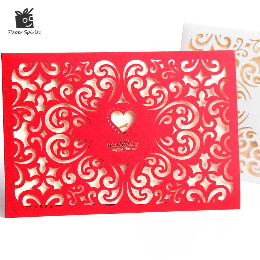 Online Shop Gold red wedding invitation with blank paper inside ...