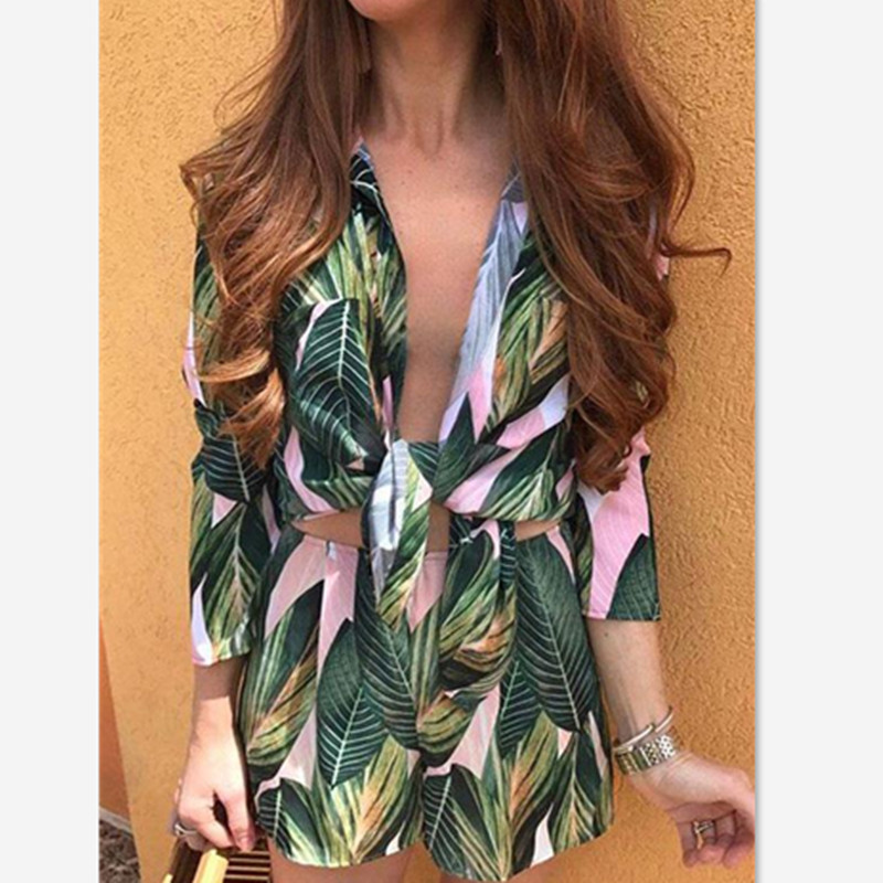 Summer Leaf Print Crop Top and Shorts Set V-Neck Bowtie Top Women Suits Beach Tracksuit Costumes For Women Two Piece Set S-XL