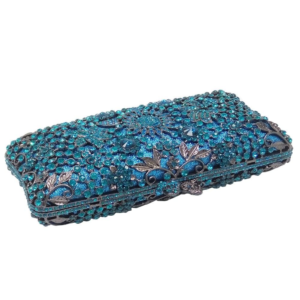 Double Flower Hollot Out Light Blue Turquoise Women Crystal Evening Clutch Bags Metal Hard Case Diamond Minaudiere Handbag Purse