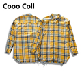 Kanye West Fear of God Justin Bieber Purpose Tour Long Sleeve Fiannel Shirts Swag Yellow Plaid Oversize Shirt Cooo Coll
