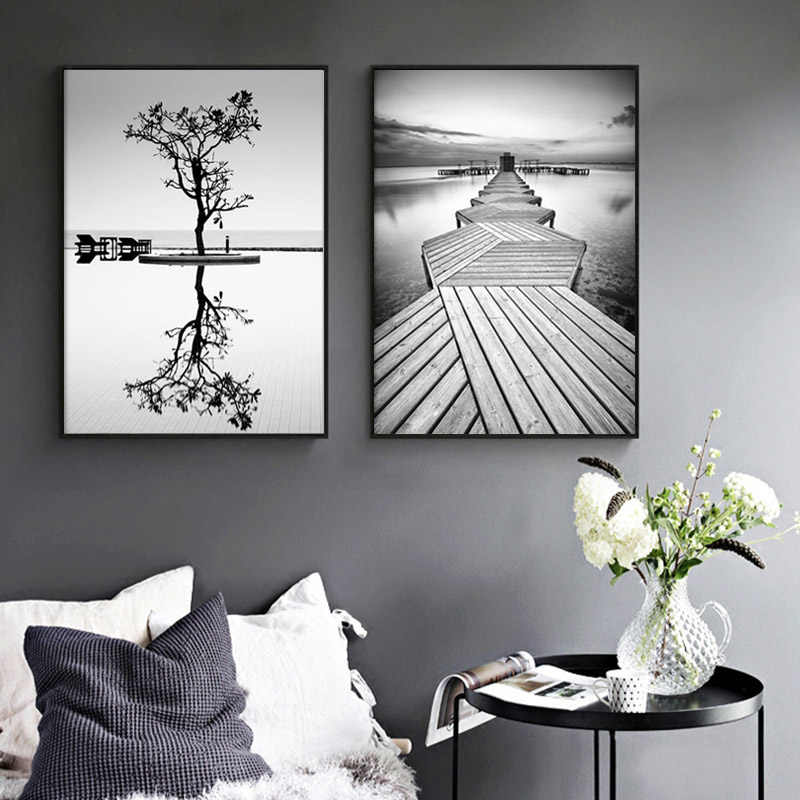 Nordic Style Prints Wall Art Black And White Tree Poster Minimalism Bridge Painting Canvas Modular Landscape Pictures Home Decor