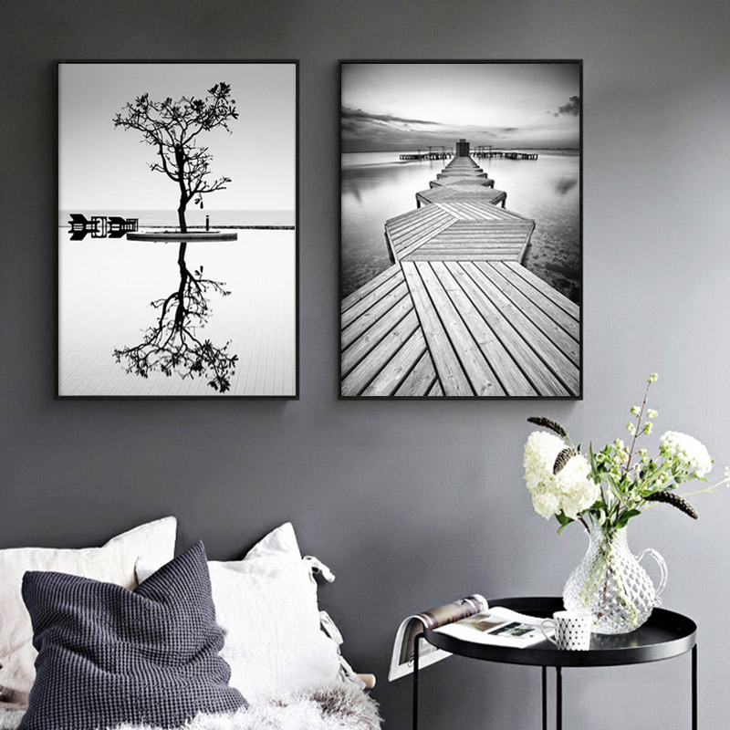 Nordic Style Prints Wall Art Black And White Tree Poster