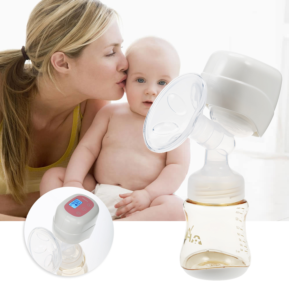 Portable Integration Electric Breast Pump With 180ml Baby Milk Bottle Feeding Bottle Natural Suction Enlarger Kit USB BPA Free