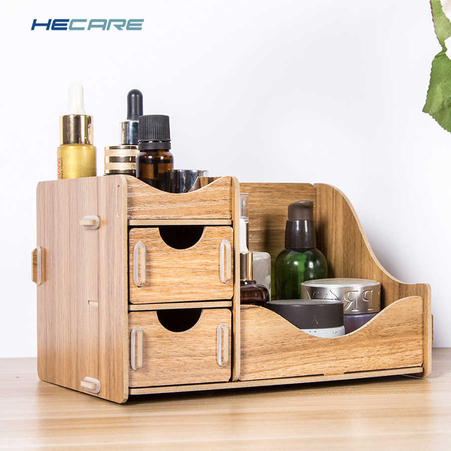 HECARE Wooden Desktop Organizer Storage Box Makeup Organizer for