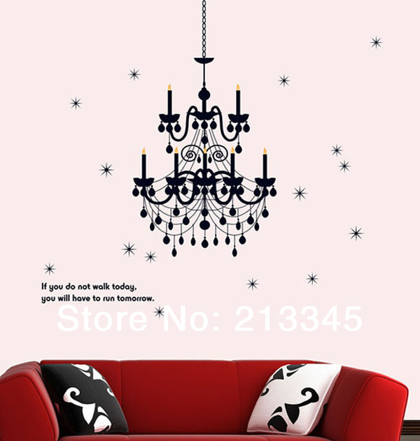 [Fundecor] Gorgeous Lighting ceiling decorative creative chandelier wall stickers decals art wall transparent PVC 6104