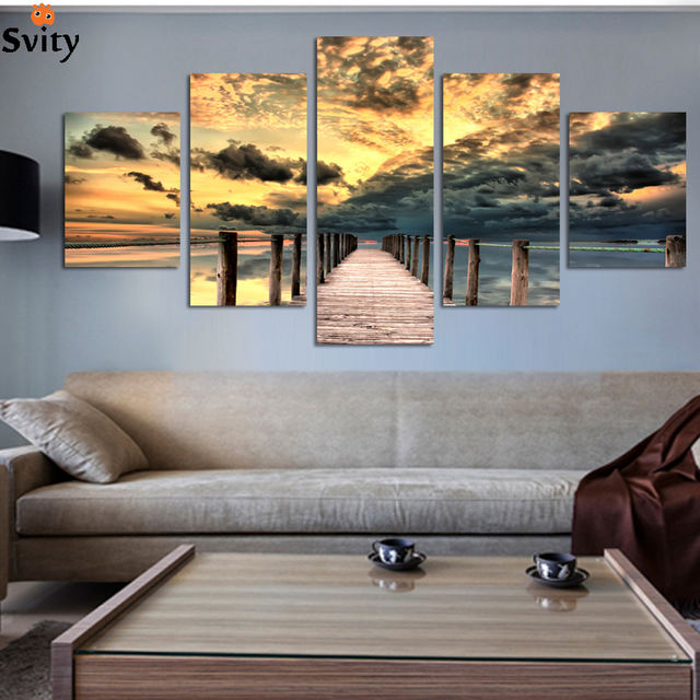 Free shipping 5 piece sunset ocean pictures unique gift for home decoration seascape wall art wooden