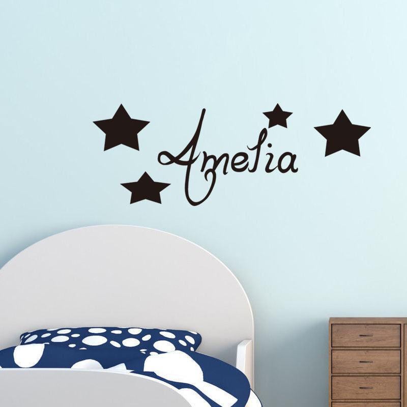 personalised any name wall decals kids bedroom removable baby nursery wall sticker stars art decal home - Name Of Bedroom Furniture