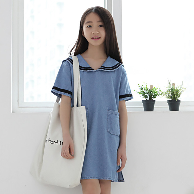 pockets jeans kids dresses for girls children clothing 2017 new spring summer denim big little girls school dresses princess top