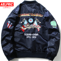 AELFRIC Creative Pattern Embroidery Ma1 Pilot Bomber Jackets Men Autumn Thin Outwear Male Casual Streetwear Baseball Coats KJ355