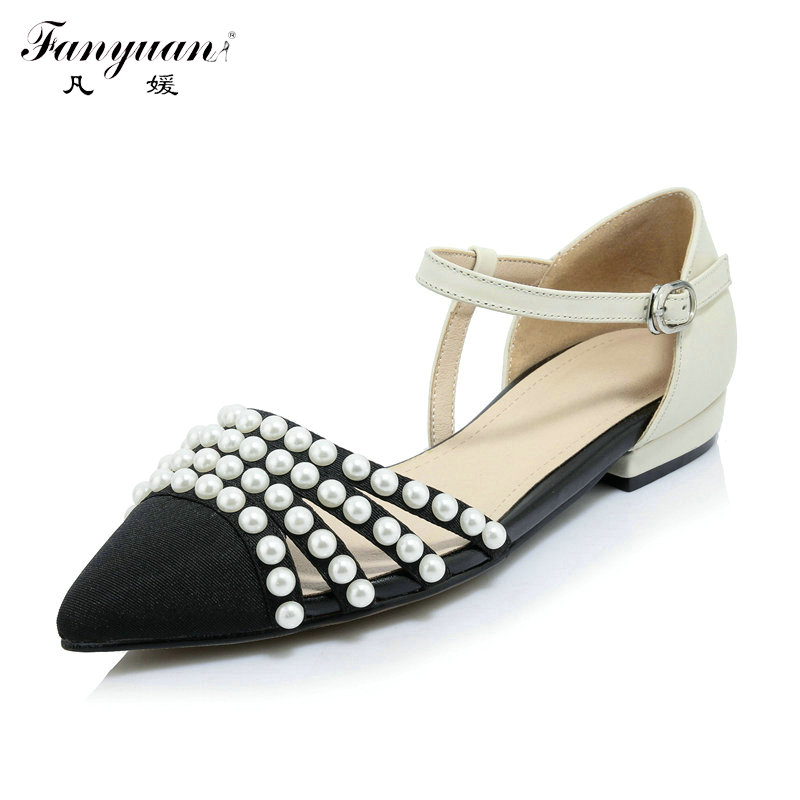 ФОТО 2017 High Quality Genuine Leather Women's Spring Autumn Flats Pointed Toe Ankle Strap Shoes Fashion String Bead Casual Flats
