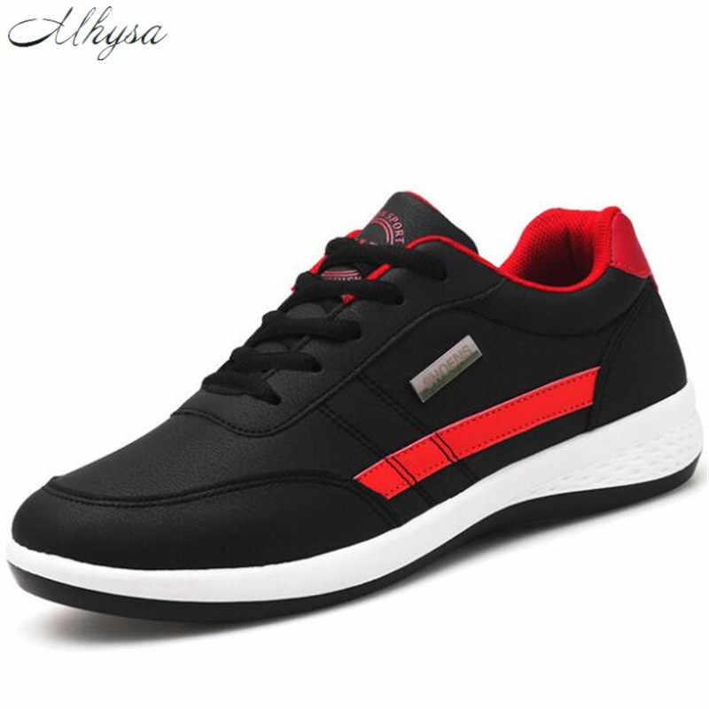 Mhysa 2019 ฤดูใบไม้ผลิผู้ชายใหม่รองเท้า Lace - Up รองเท้าแฟชั่นผู้ชายหนังสบายๆรองเท้าผู้ชายรองเท้าผ้าใบ t627