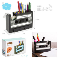 Creative Vintage Magnetic Tape Shape Tape Dispenser Cutter Parts Pen Pencil Holder Stand Desktop Zakka Organizer