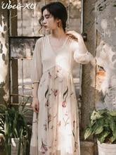 Ubei New Summer/Spring Dress high waist female summer long dress fairy chiffon print quality