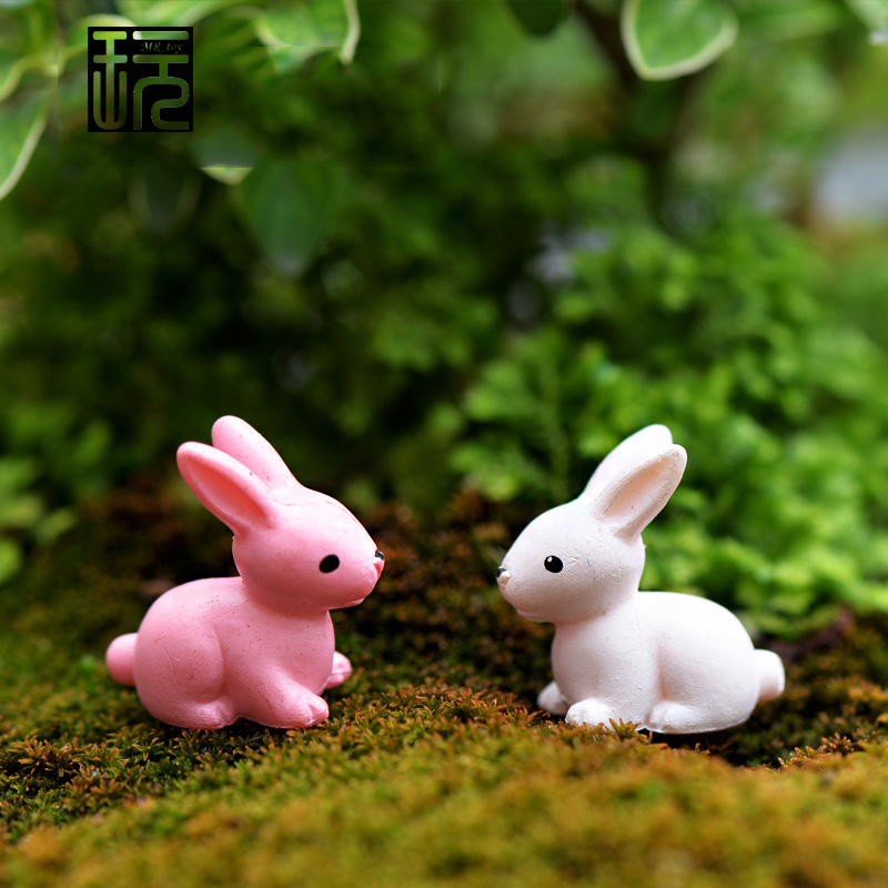 Artificial Pink White Rabbit Bunny Model Mini Animals Garden Figures Home Decoration Accessories Miniatures For Terrariums