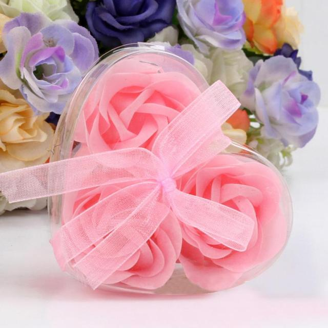 3 pçs/caixa aroma Coração Rose Flores do Sabão de Banho Sabonete Lembranças Românticas Presentes de Dia Dos Namorados Favor Do Casamento Party Decor