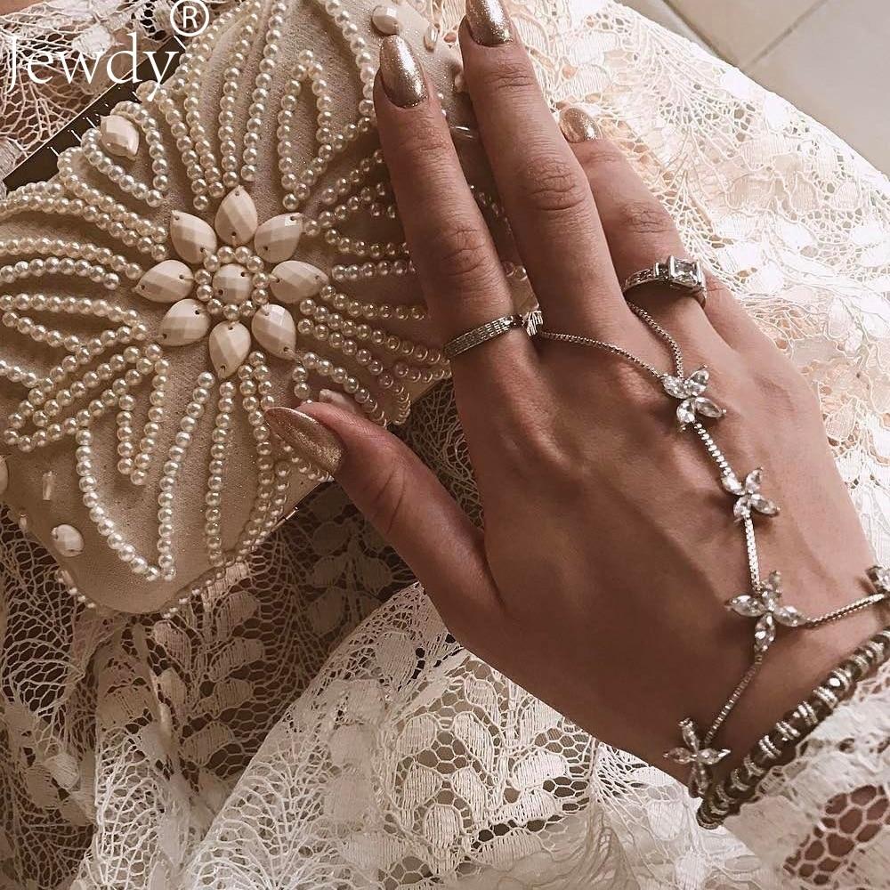 Boho кристалл цепи браслеты для женщин старинный серебряный цвет браслет богемный Роскошный горный хрусталь цветок Midi палец ювелирные издел...