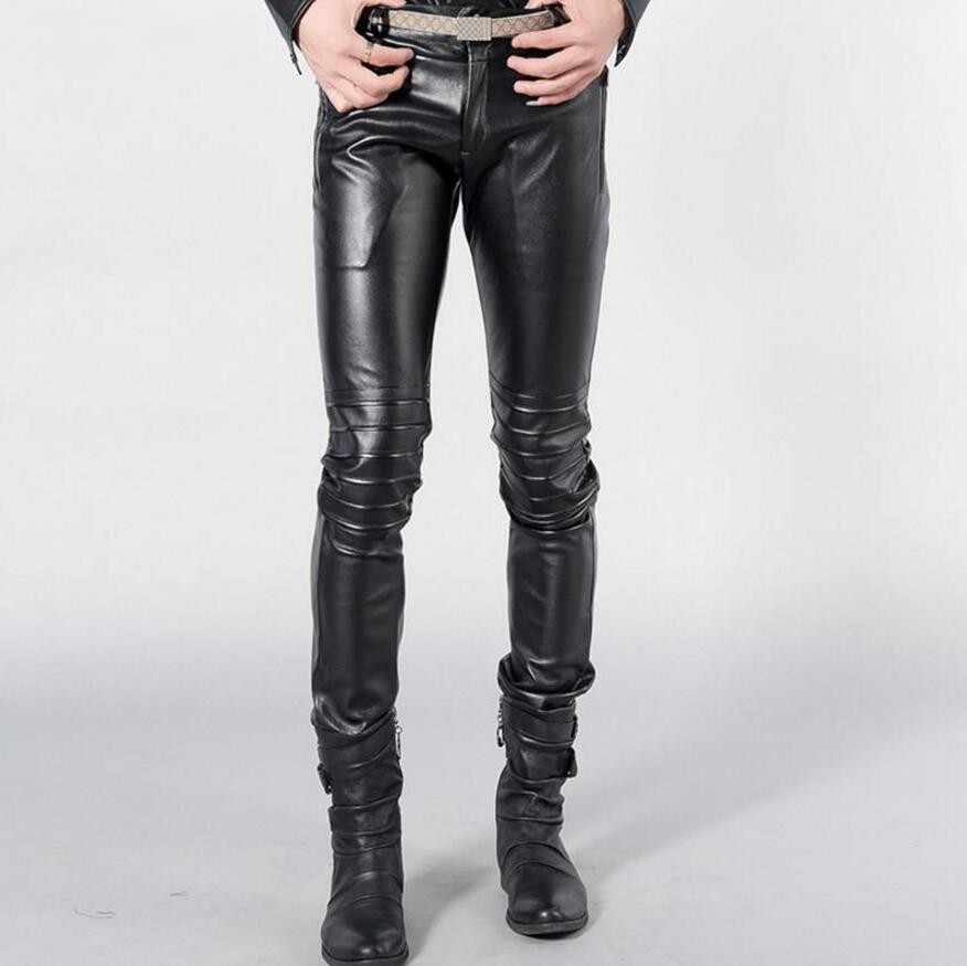 outlet boutique good out x check out Hot tide stretch black leather pants Men Korean tight autumn winter New PU  leather Slim leggings dark blue leather Trousers