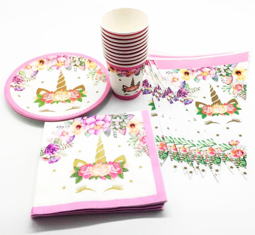 New Big eyes Unicorn party supplies for children birthday party suit party supplies of table cloth