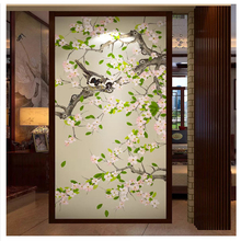beibehang Custom wall papers home decor	fashion three-dimensional flower hand-painted pen and bird new Chinese porch background