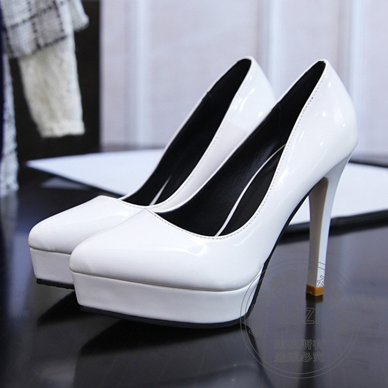Simple Low Top 2015 Evening New Arrival Square Toe Work Platform High Heels Heel Stilletos Shoes
