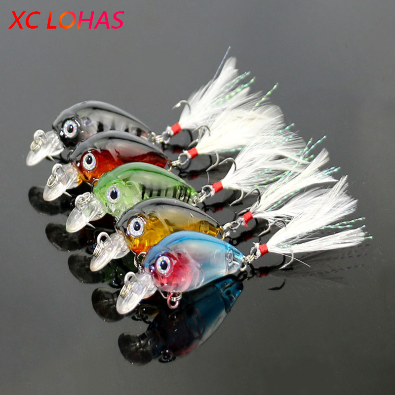 3.6cm 4g Fishing Lures Crank Baits Mini Crankbait 3D Fish Eye Artificial Lure Bait with Feather Lifelike Fake Lure CB028