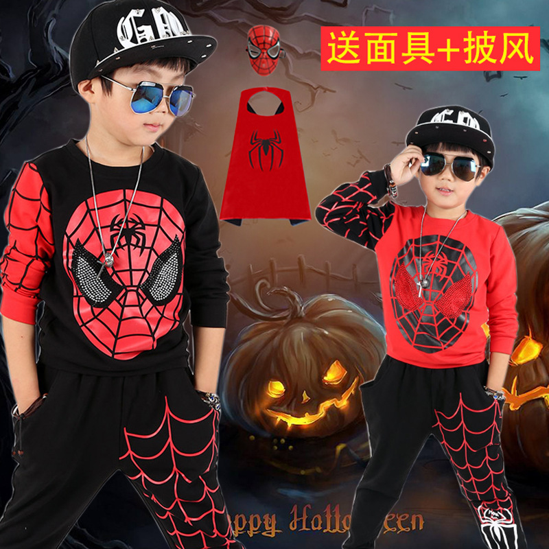 Boys Cartoon Jacket and pant Children Spiderman Hoodie Baby Kids Cute Outerwear Clothing Coat Halloween Christmas Costume