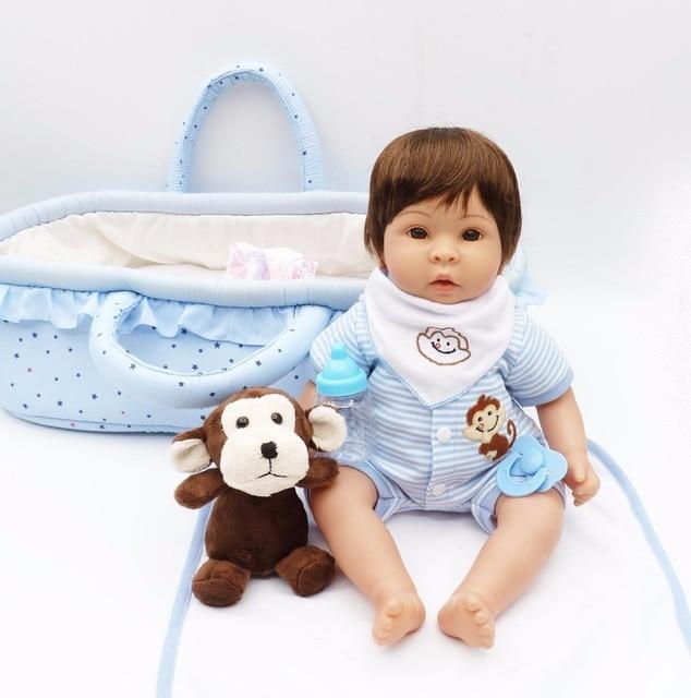 "Bebes reborn silicone baby dolls brinquedos 17 ""45 cm bebês reborn menino com azul cesta dormir macaco de pelúcia criança brinquedos de presente de aniversário"